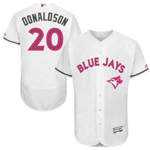 Men's Majestic Toronto Blue Jays #20 Josh Donaldson Authentic White 2016 Mother's Day Fashion Flex Base MLB Jersey