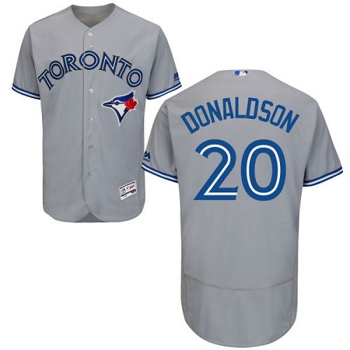 Men's Majestic Toronto Blue Jays #20 Josh Donaldson Grey Road Flex Base Authentic Collection MLB Jersey