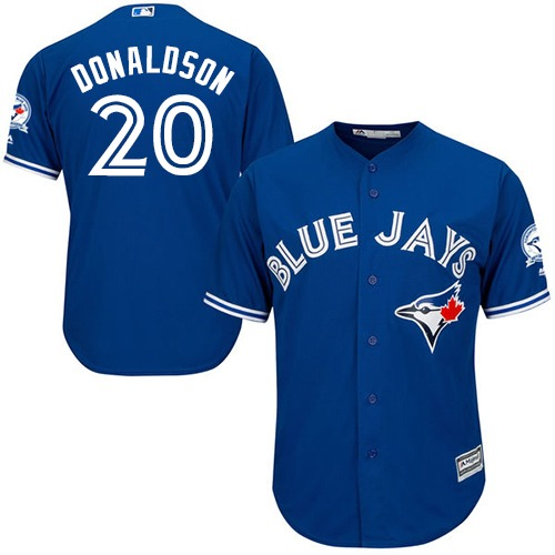 Men's Majestic Toronto Blue Jays #20 Josh Donaldson Replica Blue Alternate 40th Anniversary Patch MLB Jersey