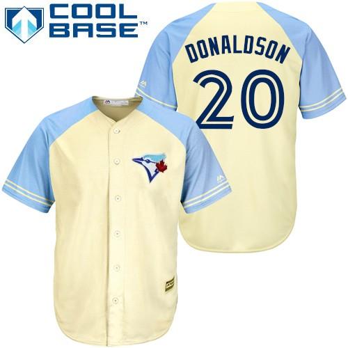 Men's Majestic Toronto Blue Jays #20 Josh Donaldson Replica Cream Exclusive Vintage Cool Base MLB Jersey