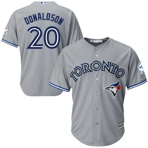 Men's Majestic Toronto Blue Jays #20 Josh Donaldson Replica Grey Road 40th Anniversary Patch MLB Jersey