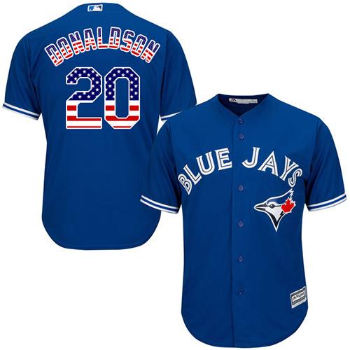 Men's Majestic Toronto Blue Jays #20 Josh Donaldson Replica Royal Blue USA Flag Fashion MLB Jersey