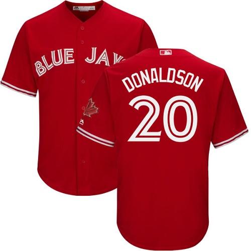 Men's Majestic Toronto Blue Jays #20 Josh Donaldson Replica Scarlet Alternate Cool Base MLB Jersey