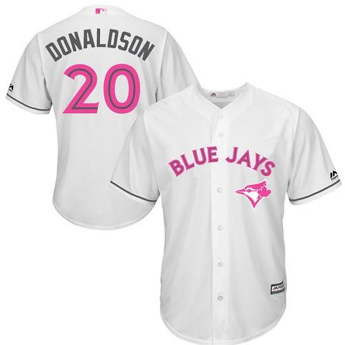 Men's Majestic Toronto Blue Jays #20 Josh Donaldson Replica White 2016 Mother's Day MLB Jersey