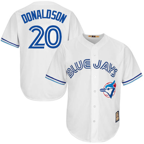 Men's Majestic Toronto Blue Jays #20 Josh Donaldson Replica White Cooperstown MLB Jersey