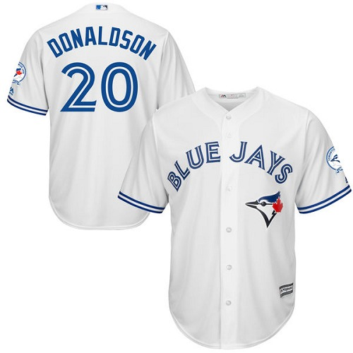 Men's Majestic Toronto Blue Jays #20 Josh Donaldson Replica White Home 40th Anniversary Patch MLB Jersey