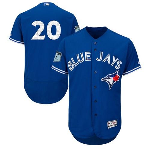 Men's Majestic Toronto Blue Jays #20 Josh Donaldson Royal Blue 2017 Spring Training Authentic Collection Flex Base MLB Jersey