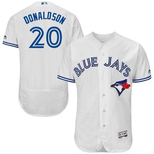 Men's Majestic Toronto Blue Jays #20 Josh Donaldson White Home Flex Base Authentic Collection MLB Jersey