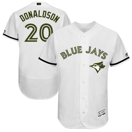 Men's Majestic Toronto Blue Jays #20 Josh Donaldson White Memorial Day Authentic Collection Flex Base MLB Jersey