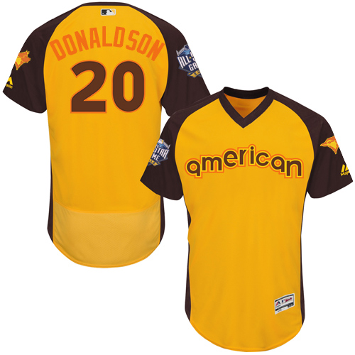 Men's Majestic Toronto Blue Jays #20 Josh Donaldson Yellow 2016 All-Star American League BP Authentic Collection Flex Base MLB Jersey