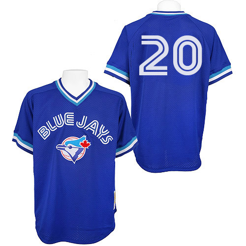 Men's Mitchell and Ness Toronto Blue Jays #20 Josh Donaldson Replica Blue Throwback MLB Jersey