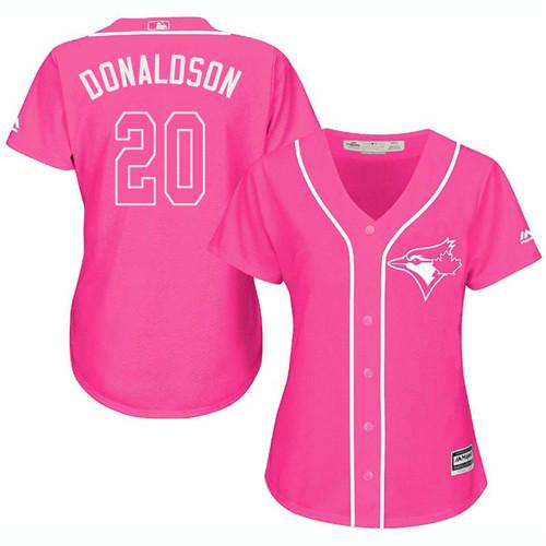 Women's Majestic Toronto Blue Jays #20 Josh Donaldson Authentic Pink Fashion Cool Base MLB Jersey