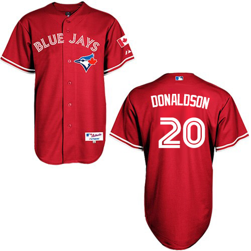 Women's Majestic Toronto Blue Jays #20 Josh Donaldson Authentic Red Canada Day MLB Jersey