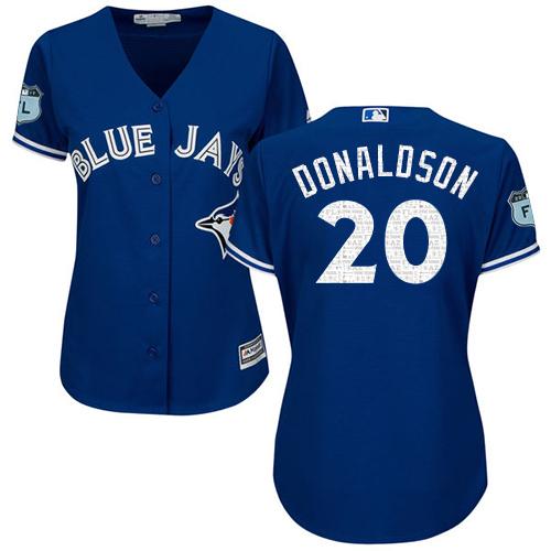 Women's Majestic Toronto Blue Jays #20 Josh Donaldson Authentic Royal Blue 2017 Spring Training Cool Base MLB Jersey