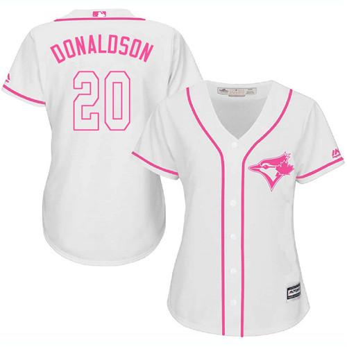 Women's Majestic Toronto Blue Jays #20 Josh Donaldson Authentic White Fashion Cool Base MLB Jersey