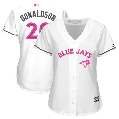 Women's Majestic Toronto Blue Jays #20 Josh Donaldson Authentic White Mother's Day Cool Base MLB Jersey