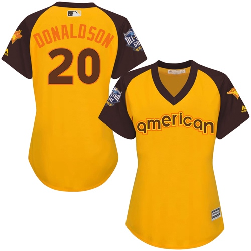 Women's Majestic Toronto Blue Jays #20 Josh Donaldson Authentic Yellow 2016 All-Star American League BP Cool Base MLB Jersey