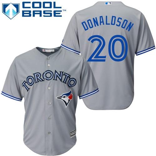 Women's Majestic Toronto Blue Jays #20 Josh Donaldson Replica Grey MLB Jersey
