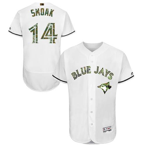 Men's Majestic Toronto Blue Jays #14 Justin Smoak Authentic White 2016 Memorial Day Fashion Flex Base MLB Jersey