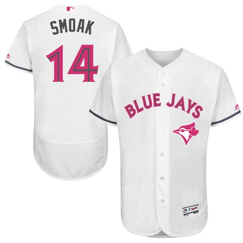 Men's Majestic Toronto Blue Jays #14 Justin Smoak Authentic White 2016 Mother's Day Fashion Flex Base MLB Jersey