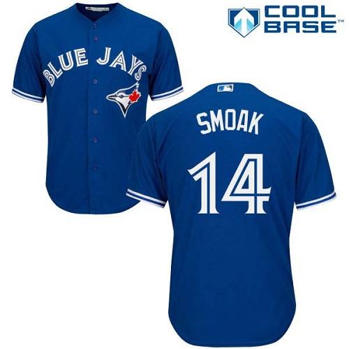 Men's Majestic Toronto Blue Jays #14 Justin Smoak Replica Blue Alternate MLB Jersey