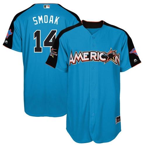 Men's Majestic Toronto Blue Jays #14 Justin Smoak Replica Blue American League 2017 MLB All-Star MLB Jersey