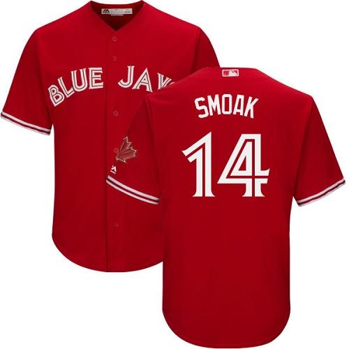 Men's Majestic Toronto Blue Jays #14 Justin Smoak Replica Scarlet Alternate Cool Base MLB Jersey
