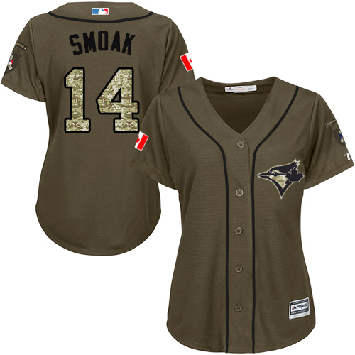 Women's Majestic Toronto Blue Jays #14 Justin Smoak Authentic Green Salute to Service MLB Jersey