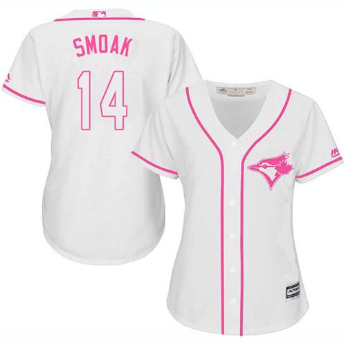 Women's Majestic Toronto Blue Jays #14 Justin Smoak Authentic White Fashion Cool Base MLB Jersey