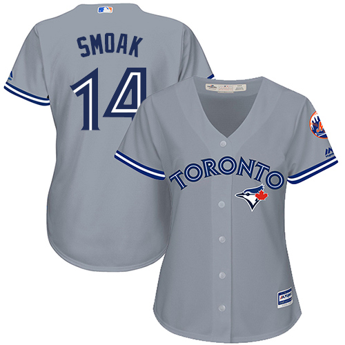 Women's Majestic Toronto Blue Jays #14 Justin Smoak Replica Grey Road MLB Jersey