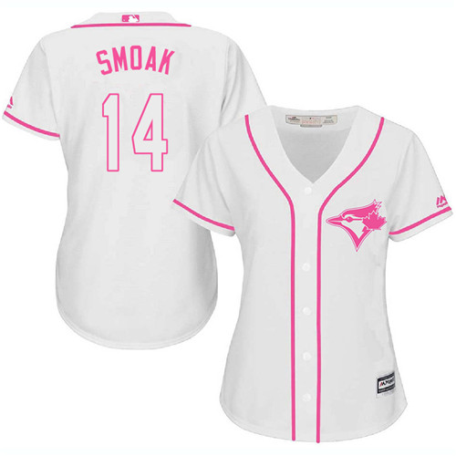 Women's Majestic Toronto Blue Jays #14 Justin Smoak Replica White Fashion Cool Base MLB Jersey