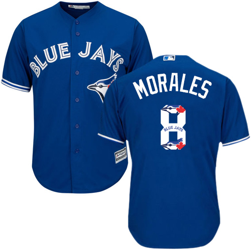Men's Majestic Toronto Blue Jays #8 Kendrys Morales Authentic Blue Team Logo Fashion MLB Jersey