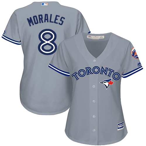 Women's Majestic Toronto Blue Jays #8 Kendrys Morales Replica Grey Road MLB Jersey