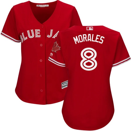Women's Majestic Toronto Blue Jays #8 Kendrys Morales Replica Scarlet Alternate MLB Jersey