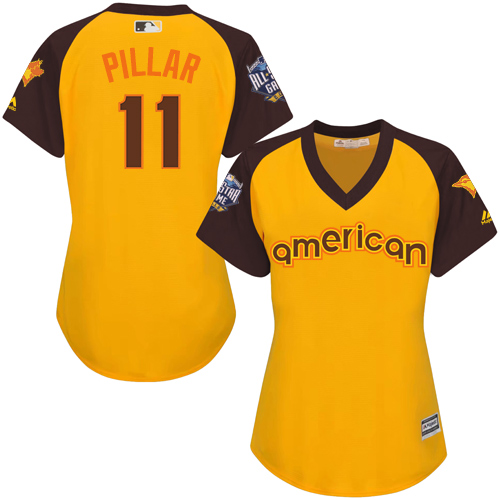 Women's Majestic Toronto Blue Jays #11 Kevin Pillar Authentic Yellow 2016 All-Star American League BP Cool Base MLB Jersey