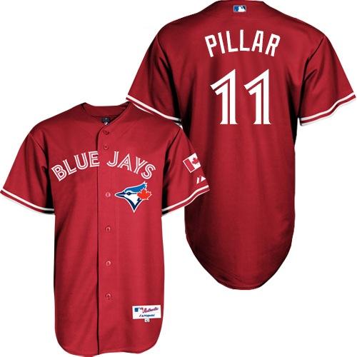 Women's Majestic Toronto Blue Jays #11 Kevin Pillar Replica Red Canada Day MLB Jersey