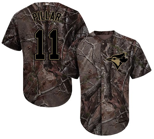 Youth Majestic Toronto Blue Jays #11 Kevin Pillar Authentic Camo Realtree Collection Flex Base MLB Jersey