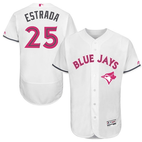 Men's Majestic Toronto Blue Jays #25 Marco Estrada Authentic White 2016 Mother's Day Fashion Flex Base MLB Jersey