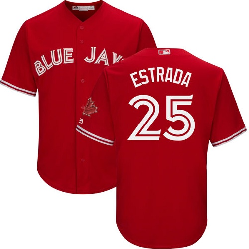 Men's Majestic Toronto Blue Jays #25 Marco Estrada Replica Scarlet Alternate Cool Base MLB Jersey
