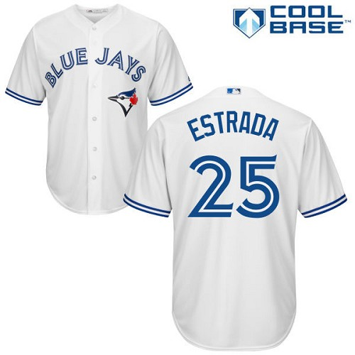 Men's Majestic Toronto Blue Jays #25 Marco Estrada Replica White Home MLB Jersey