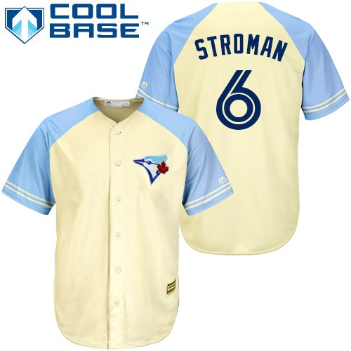 Men's Majestic Toronto Blue Jays #6 Marcus Stroman Replica Cream Exclusive Vintage Cool Base MLB Jersey