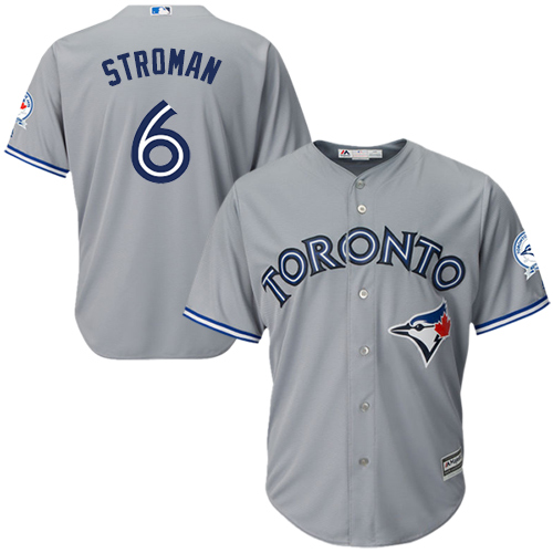 Men's Majestic Toronto Blue Jays #6 Marcus Stroman Replica Grey Road 40th Anniversary Patch MLB Jersey