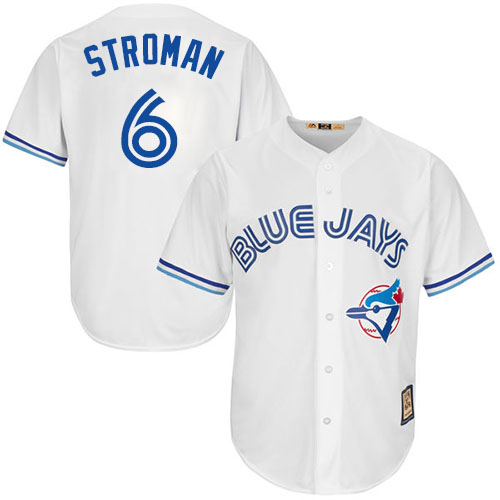 Men's Majestic Toronto Blue Jays #6 Marcus Stroman Replica White Cooperstown MLB Jersey