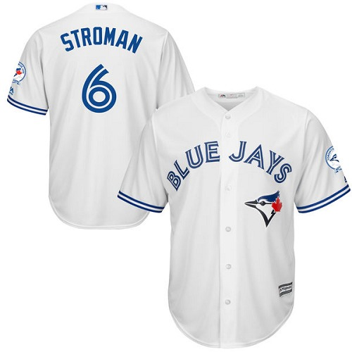 Men's Majestic Toronto Blue Jays #6 Marcus Stroman Replica White Home 40th Anniversary Patch MLB Jersey