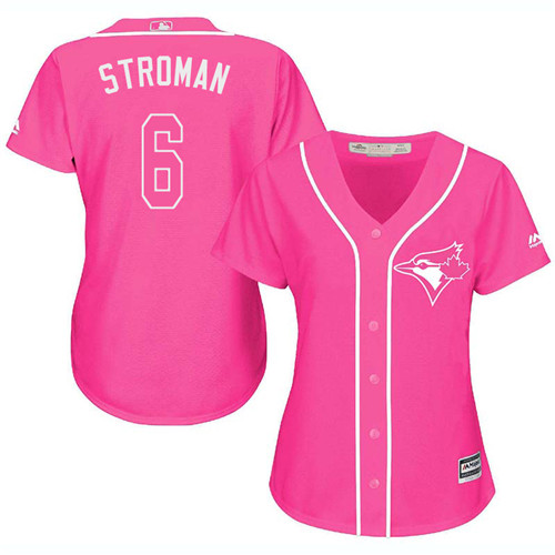 Women's Majestic Toronto Blue Jays #6 Marcus Stroman Authentic Pink Fashion Cool Base MLB Jersey
