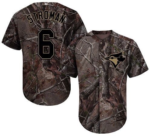 Youth Majestic Toronto Blue Jays #6 Marcus Stroman Authentic Camo Realtree Collection Flex Base MLB Jersey