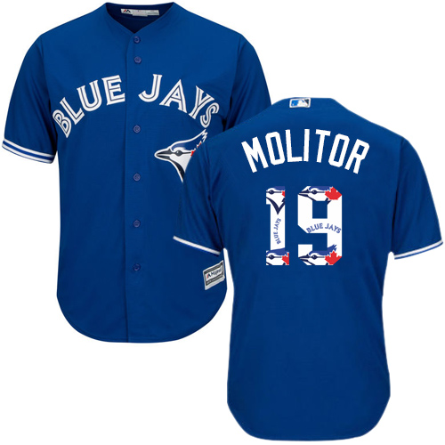 Men's Majestic Toronto Blue Jays #19 Paul Molitor Authentic Blue Team Logo Fashion MLB Jersey