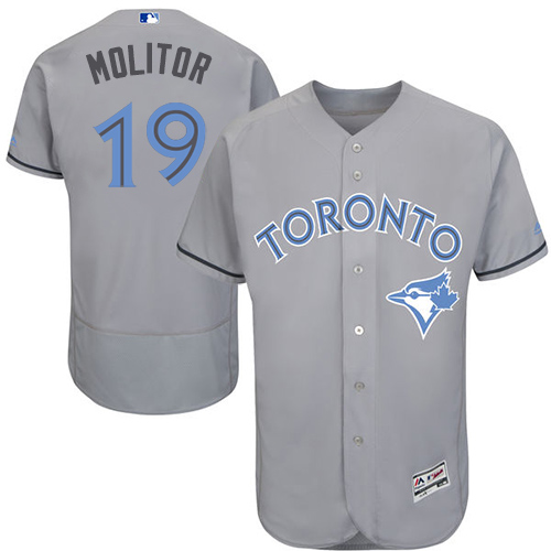 Men's Majestic Toronto Blue Jays #19 Paul Molitor Authentic Gray 2016 Father's Day Fashion Flex Base MLB Jersey