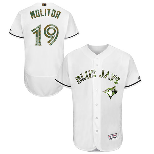 Men's Majestic Toronto Blue Jays #19 Paul Molitor Authentic White 2016 Memorial Day Fashion Flex Base MLB Jersey