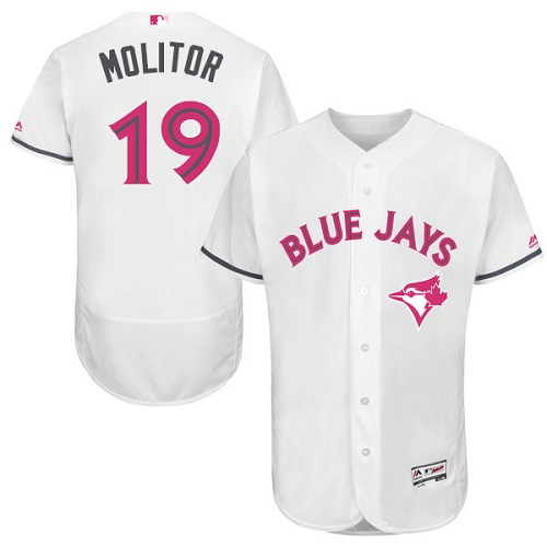 Men's Majestic Toronto Blue Jays #19 Paul Molitor Authentic White 2016 Mother's Day Fashion Flex Base MLB Jersey